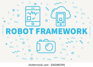 Conceptual business illustration with the words robot framework