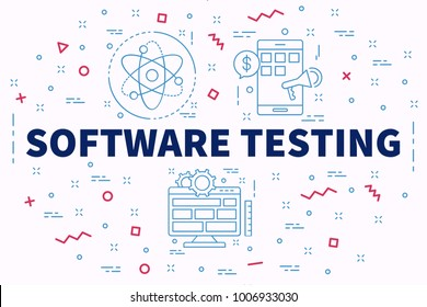 Conceptual business illustration with the words software testing