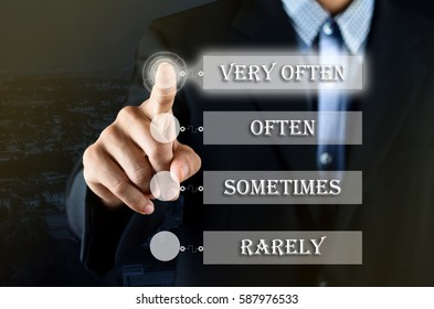 Conceptual - Business man pointing his hand choosing on transparent screen with option between Very Often, Often, Sometimes, Rarely