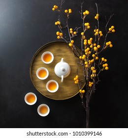 Conceptual Chinese style afternoon tea still life. Flat lay image.