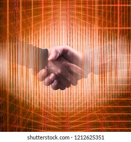 Conceptual close up businessmen handshake in abstract structural lights