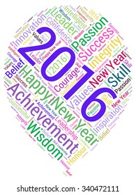 Conceptual of cloud containing words related to leadership, business, innovation, success for year 2016.