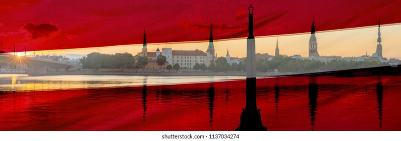 Conceptual collage image symbolizing 100 years of Latvian State Independence. Flag of Latvia, Statue of Independence and ancient buildings in old Riga - capital of Latvia, EC, Europe