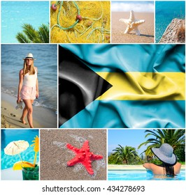 Conceptual collage of summer vacation in Bahamas