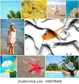 Conceptual collage of summer vacation in Cyprus