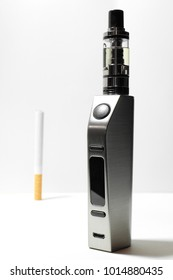 A conceptual composition between traditional cigarette and electronic cigarette.
