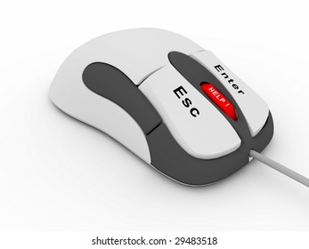 Conceptual computer mouse isolated on white background