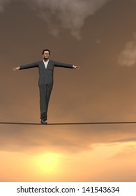Conceptual concept of 3D businessman or man in crisis walking in balance on rope over sunset sky background,metaphor to business,danger,risk,risky,finance,fall,dangerous,equilibrium,hazard or success