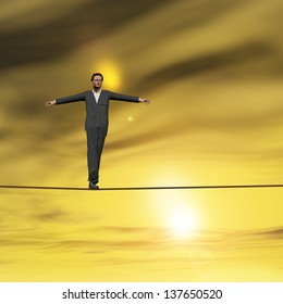 Conceptual concept of businessman or man in crisis walking in balance on rope over sunset sky background,metaphor to business,danger,risk,risky,finance,fall,dangerous,equilibrium,hazard or success