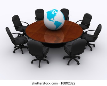 Conceptual conference table with Earth globe - 3d render