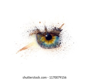 Conceptual creative photo of a female eye close-up in the form of splashes, explosion and dripping paint isolated on a white background. Female eye close-up with spray paint around.