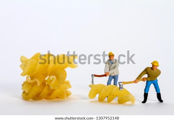 Conceptual Diorama Image Miniature Figures Shaping Stock