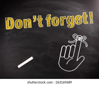 Conceptual Don't Forget Text in Yellow on Black Chalkboard with Hand Drawing Design.