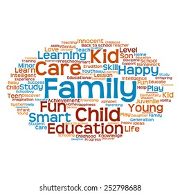 Conceptual education blue and orange abstract word cloud, white background, metaphor to child, family, school, life, learn, knowledge, home, study, teach, educational, achievement, childhood or teen