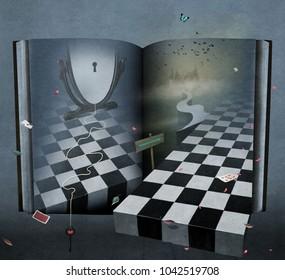 Conceptual fantasy illustration or poster with  book Wonderland.