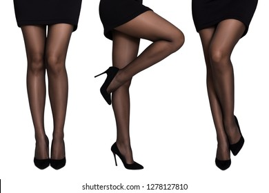 Conceptual fashion art photo. Sexy female legs in black panty hoses and on high heels in sensual positions, isolated on white background