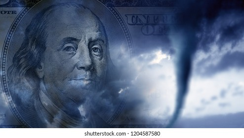conceptual finance image of money, one hundred dollar bill, and stormy sky with approaching tornado