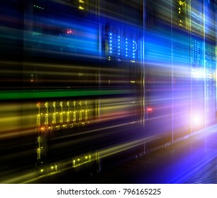 Conceptual futuristic information technology digital light abstraction. Famtastic view mainframe motion