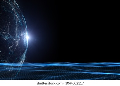 Conceptual futuristic sunny network sphere with wavy lines and dots illustration. View from space.
