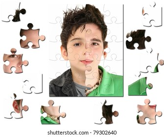 Conceptual growth image of child age 8 and 18 years old.