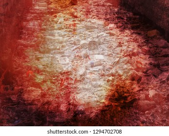 conceptual grungy image with overlap double exposure, contaminate pollution dangerous red color, huge pile of garbage and red smoke