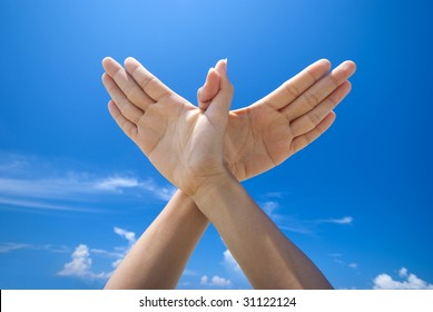 Conceptual hand gesture of world peace
