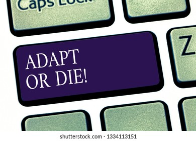 Conceptual hand writing showing Adapt Or Die. Business photo showcasing Be flexible to changes to continue operating your business Keyboard key Intention to create computer message idea.