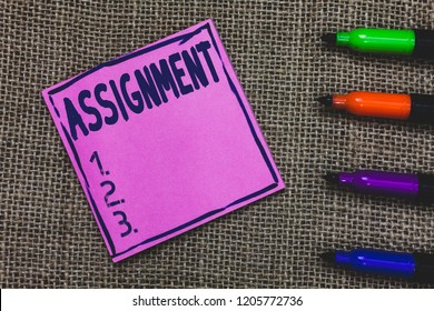 Conceptual hand writing showing Assignment. Business photo showcasing Task Particular job assigned to someone as part of work study Purple Paper Important reminder Markers Jute background.
