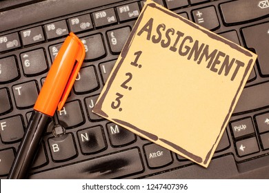 Conceptual hand writing showing Assignment. Business photo showcasing Task Particular job assigned to someone as part of work study