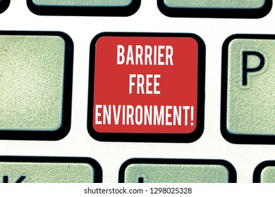 Conceptual hand writing showing Barrier Free Environment. Business photo showcasing free of potential obstacles to individuals Keyboard key Intention to create computer message idea.