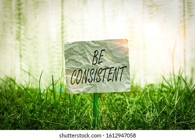 Conceptual hand writing showing Be Consistent. Business photo text Uniform Persistent Firm Unalterable Even Unchanging Rapport Plain paper attached to stick and placed in the grassy land.