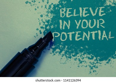 Conceptual hand writing showing Believe In Your Potential. Business photo showcasing Have self-confidence motiavate inspire yourself Sprinkle blue color on floor marker beside some outline text.