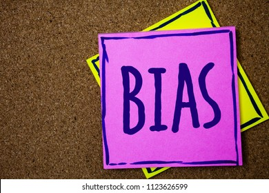 Conceptual hand writing showing Bias. Business photo text Unfair Subjective One-sidedness Preconception Inequality Bigotry Wicker background message communicate intentions feelings thoughts.