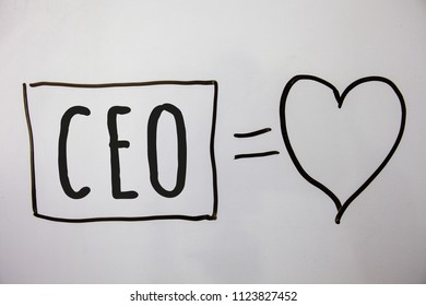Conceptual hand writing showing Ceo. Business photo showcasing Chief Executive Officer Head Boss Chairperson Chairman Controller Ideas messages heart white background intentions feelings.