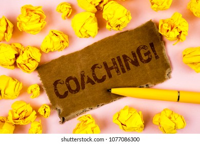 Conceptual hand writing showing Coaching Motivational Call. Business photo text Tough training begins to improve your skills written on Tear Cardboard piece on plain background Paper Balls Pen