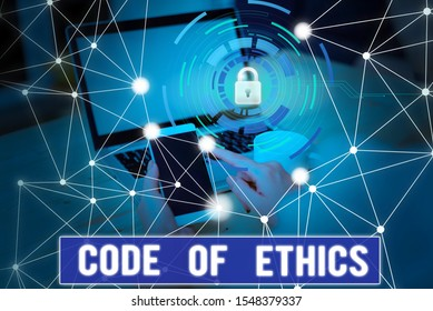 Conceptual hand writing showing Code Of Ethics. Business photo text basic guide for professional conduct and imposes duties Picture photo network scheme with modern smart device.