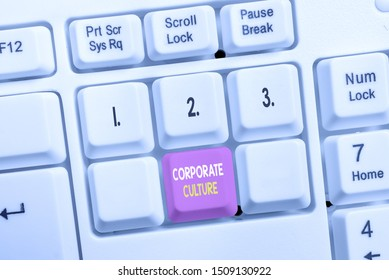 Conceptual hand writing showing Corporate Culture. Business photo showcasing pervasive values and attitudes that characterize a company White pc keyboard with note paper above the white background.