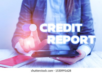 Conceptual hand writing showing Credit Report. Business photo showcasing Borrowing Rap Sheet Bill and Dues Payment Score Debt History Business concept with communication mobile phone.