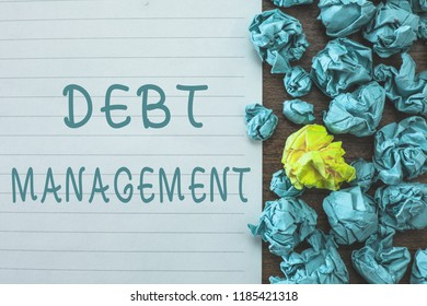 Conceptual hand writing showing Debt Management. Business photo text The formal agreement between a debtor and a creditor