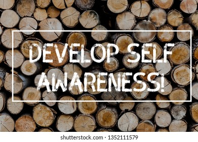 Conceptual hand writing showing Develop Self Awareness. Business photo text What you think you become motivate and grow Wooden background vintage wood wild message ideas thoughts.