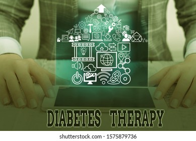 Conceptual hand writing showing Diabetes Therapy. Business photo text aim to achieve lower average blood glucose results.