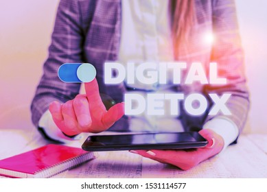 Conceptual hand writing showing Digital Detox. Business photo showcasing Free of Electronic Devices Disconnect to Reconnect Unplugged Business concept with communication mobile phone.