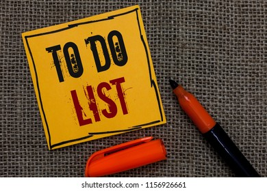 Conceptual hand writing showing To Do List. Business photo showcasing A structure that usualy made in paper contining task of yours Orange paper Marker Communicate ideas Jute background.