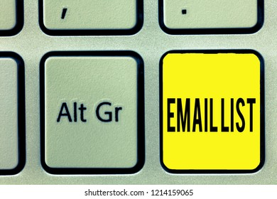 Conceptual hand writing showing Email List. Business photo text Contacts information to send electronic correspondence newsletter