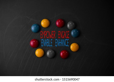 Conceptual hand writing showing Empower Engage Enable Enhance. Business photo showcasing Empowerment Leadership Motivation Engagement Round Flat shape stones with same sizes stick black board.