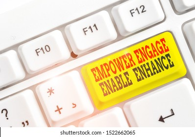 Conceptual hand writing showing Empower Engage Enable Enhance. Business photo text Empowerment Leadership Motivation Engagement White pc keyboard with note paper above the white background.