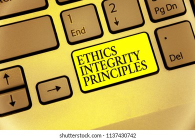 Conceptual hand writing showing Ethics Integrity Principles. Business photo showcasing quality of being honest and having strong moral Keyboard yellow key Intention computing reflection document.