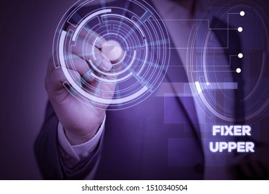 Conceptual hand writing showing Fixer Upper. Business photo text house in need of repairs used chiefly connection with purchase Male wear formal suit presenting presentation smart device.