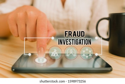 Conceptual hand writing showing Fraud Investigation. Business photo showcasing process of determining whether a scam has taken place.