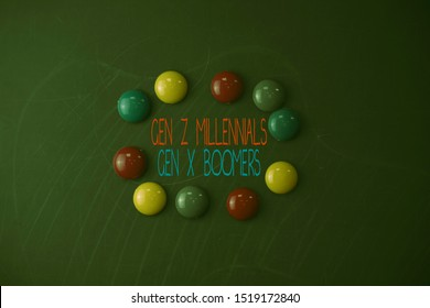 Conceptual hand writing showing Gen Z Millennials Gen X Boomers. Business photo showcasing Generational differences Old Young showing Round Flat shape stones with same sizes stick black board.